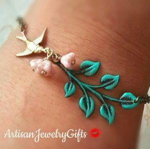 Woodland Sparrow Branch Pink Bell Flowers Bracelet